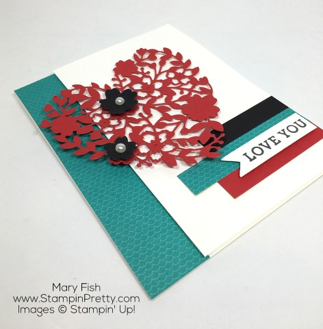 Get Valentine Card Idea for Stampin Up Bloomin Heart Thinlits Dies By Mary Fish