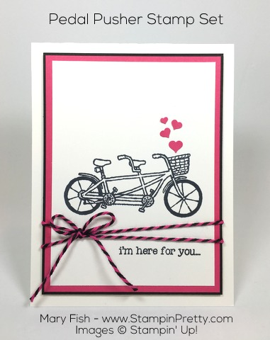Simple friendship card by Mary Fish using Stampin Up Pedal Pusher stamp set and Baker's Twine