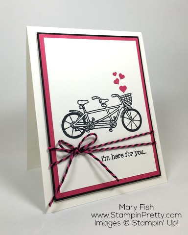 Simple friendship card by Mary Fish using Stampin Up Pedal Pusher stamp set
