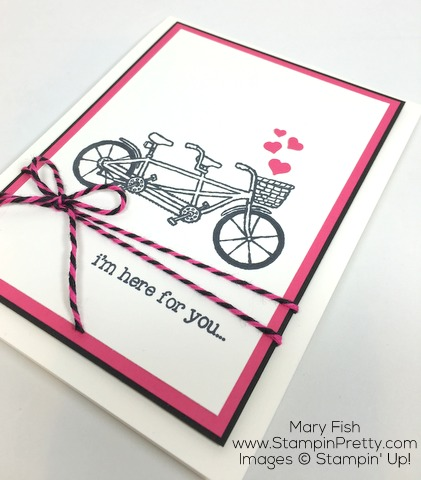 Simple friendship card by Mary Fish using Stampin Up Pedal Pusher stamp sets