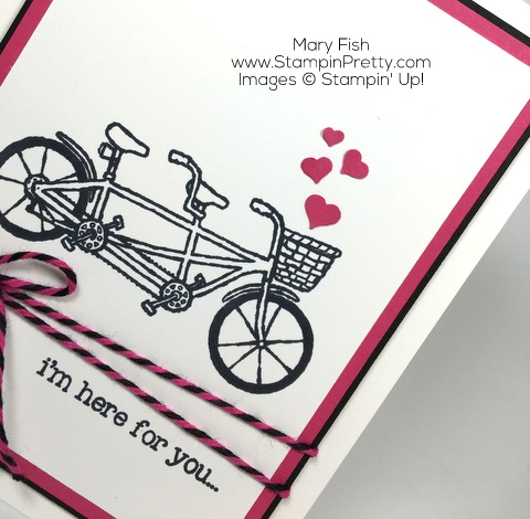 Simple friendship card idea by Mary Fish using Stampin Up Pedal Pusher stamp set
