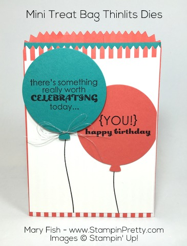 Stampin Up Mini Treat Bag Thinlits Dies combine with Remembering Your Birthday - By Mary Fish
