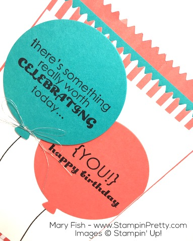 Stampin Up Mini Treat Bag Thinlits and Balloon Dies combine with Remembering Your Birthday - By Mary Fish