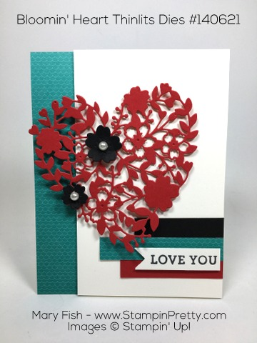 Valentine Love Card Idea for Stampin Up Bloomin Heart Thinlits Dies By Mary Fish