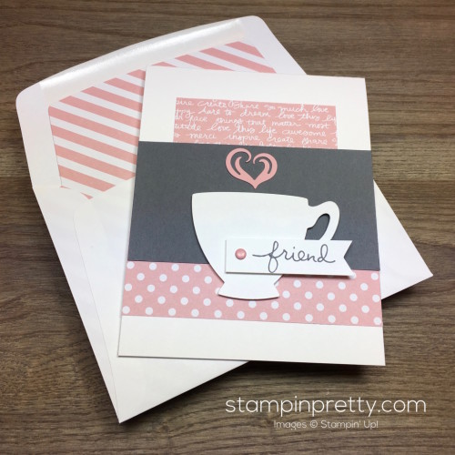Stampin Up Cups & Kettle Friend Card - Mary Fish StampinUp Envelope Liner