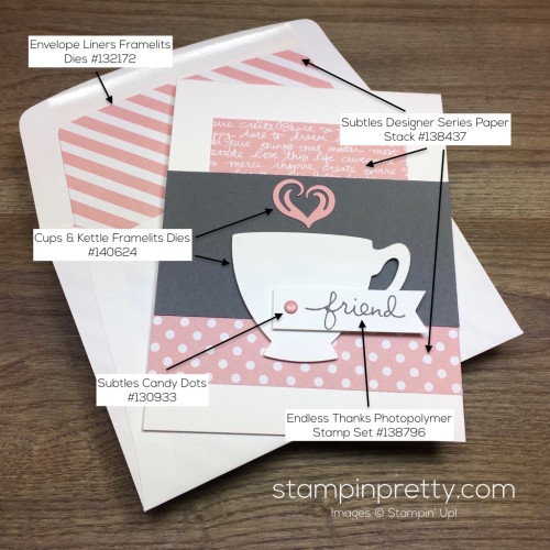 Stampin Up Cups & Kettle Friend Card - Mary Fish StampinUp Supply List
