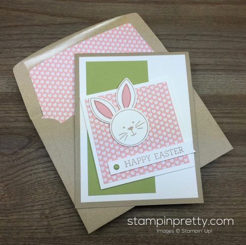 Stampin Up Easter Bunny Card Idea Envelope Liner - Mary Fish StampinUp