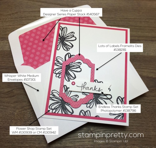 Stampin Up Flower Shop Lots of Labels Framelits Dies Thank You Card Envelope - Mary Fish