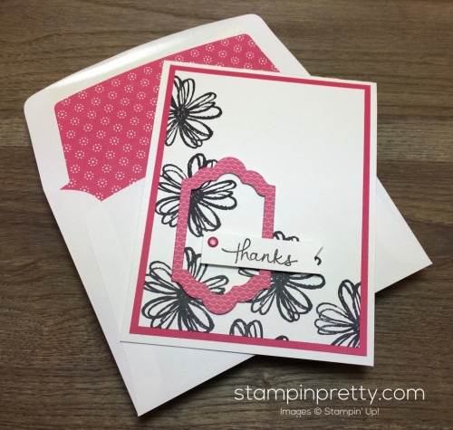 Stampin Up Flower Shop Lots of Labels Framelits Dies Thank You Card Product List - Mary Fish