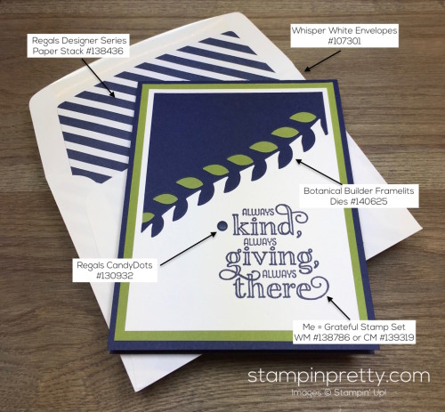 Stampin Up Me = Grateful Thank You Card Envelope - Mary Fish Supply List
