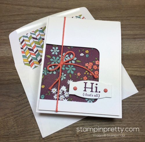 Stampin Up Party Pants Hello Card & Envelope by Mary Fish StampinUp