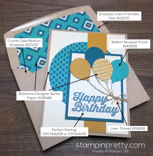Stampin Up Perfect Pairings Birthday Card Envelope Liner - Mary Fish StampinUp