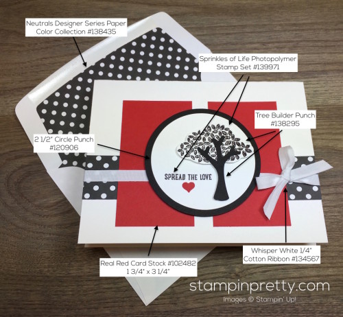 Stampin Up Sprinkles of Life Tree Builder Punch Card & Envelope By Mary Fish Supply List