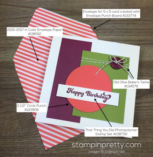 Stampin Up That Thing You Did Masculine Birthday Card & Envelope By Mary Fish StampinUp Supply List