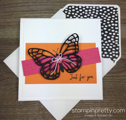 Stampin Up Watercolor Wings Butterflies Dies Butterfly Card & Envelope By Mary Fish