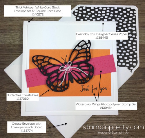 Stampin Up Watercolor Wings Butterflies Dies Butterfly Card & Envelope By Mary Fish StampinUp Supply List