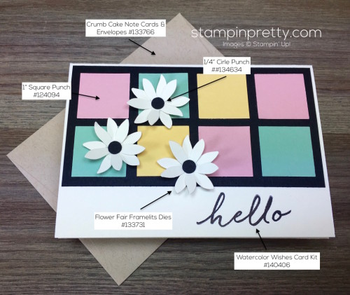 Stampin Up Watercolor Wishes Hello Card & Envelope by Mary Fish StampinUp Supply List