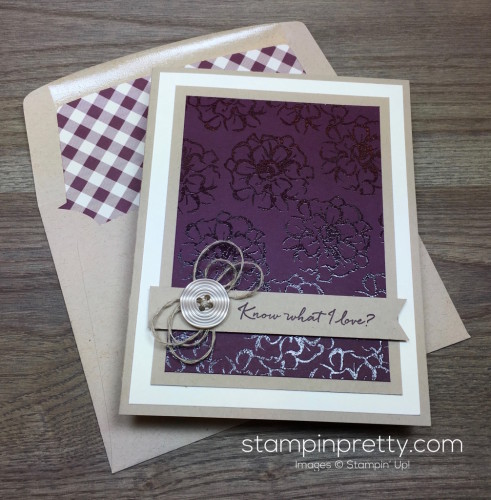 Stampin Up What I Love Card & Envelope By Mary Fish StampinUp