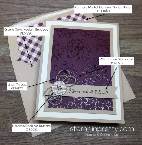 Stampin Up What I Love Card & Envelope By Mary Fish StampinUp Supply List