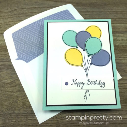 Stampin Up Balloon Celebration Birthday Card & Envelope By Mary Fish StampinUp