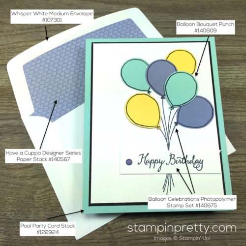 Stampin Up Balloon Celebration Birthday Card & Envelope By Mary Fish StampinUp Supply List