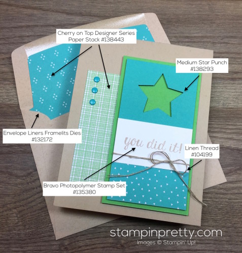 Stampin Up Bravo Congratulations Card & Envelope By Mary Fish StampinUp Supply List