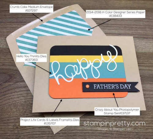 Stampin Up Fathers Day Card & Envelope By Mary Fish StampinUp Supply List