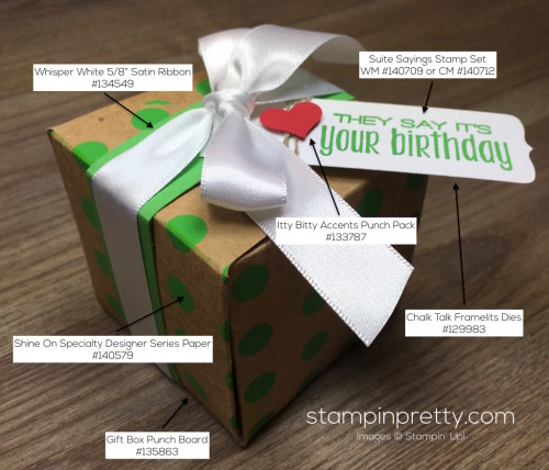 Stampin Up Gift Box Punch Board Suite Sayings Birthday Tag By Mary Fish StampinUp Supply List