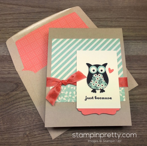 Stampin Up Owl Builder Punch Just Because Card & Envelope Liner By Mary Fish StampinUp