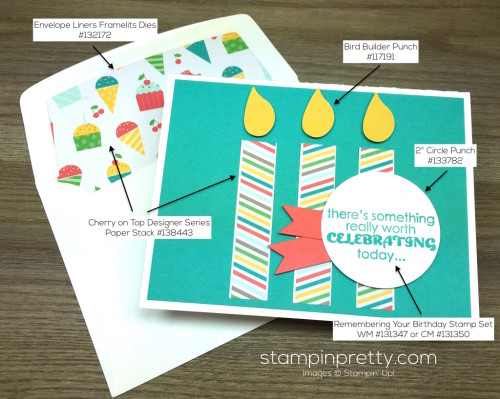 Stampin Up Remembering Your Birthday Card & Envelope By Mary Fish StampinUp Supply List