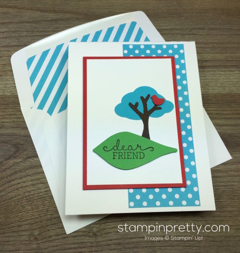 Stampin Up Tree Builder Punch Friend Card & Envelope By Mary Fish StampinUp