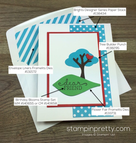 Stampin Up Tree Builder Punch Friend Card & Envelope By Mary Fish StampinUp Supply List