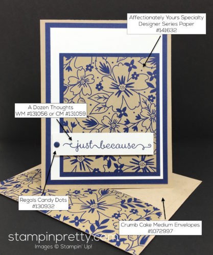 Stampin Up Affectionately Yours Card Ideas & Envelope By Mary Fish StampinUp Supply List