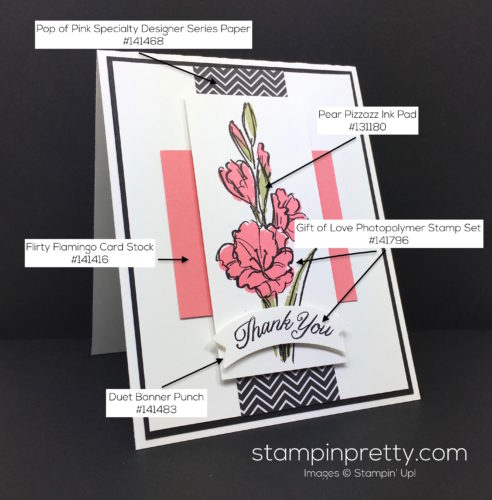 Stampin Up Gift of Love Thank You Card - Mary Fish StampinUp Supply List