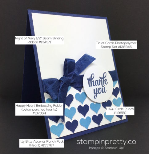 Stampin Up Happy Heart Thank You Card - Mary Fish StampinUp Supply List
