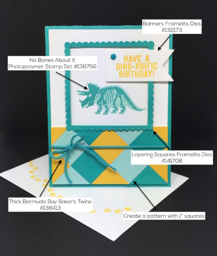 Stampin Up No Bones About It Birthday Card & Envelope - Mary Fish StampinUp Supply List