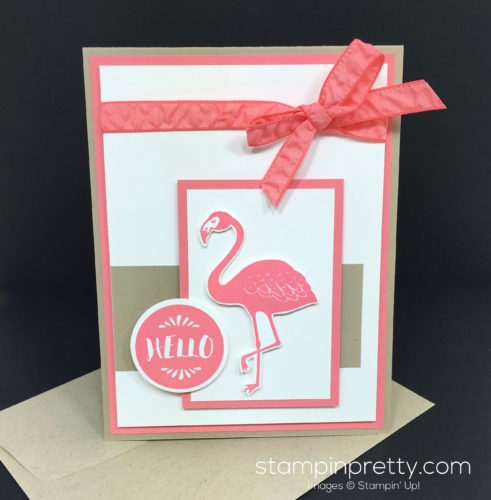 Stampin Up Pop of Paradise Hello Card & Envelope - Mary Fish StampinUp