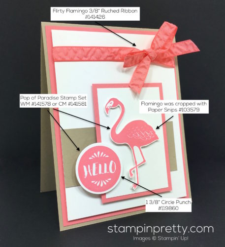 Stampin Up Pop of Paradise Hello Card - Mary Fish StampinUp Supply List