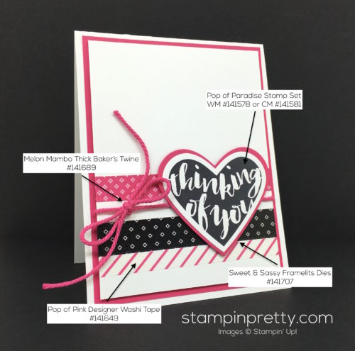Stampin Up Pop of Paradise Thinking of You Card - Mary Fish StampinUp Supply List
