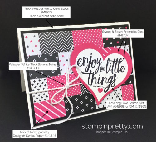 Stampin Up Pop of Pink Layering Love Card - Mary Fish StampinUp Supply List