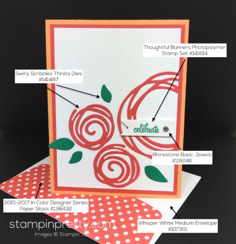 Stampin Up Swirly Scribbles Birthday Card & Envelope - Mary Fish StampinUp Supply List