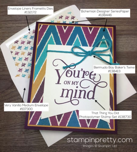 Stampin Up That Thing You Did Sympathy Card Envelope Liner - Mary Fish StampinUp Supply List