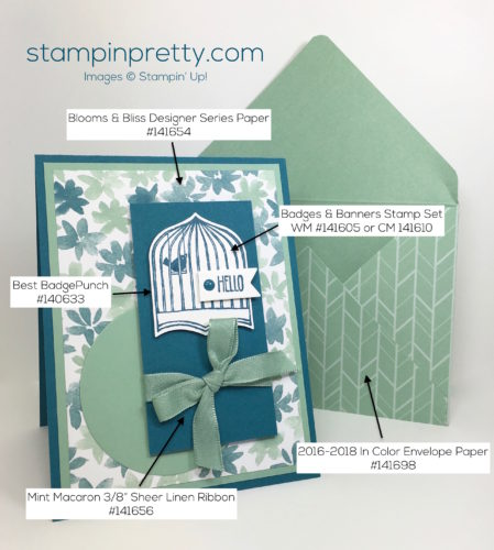 Stampin Up Badges & Banners Punch Card Ideas & Envelope - Mary Fish StampinUp Supply List