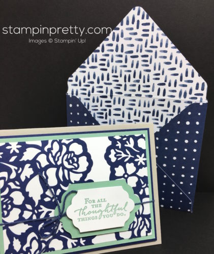 Stampin Up Floral Phrases Thinlits Die Thank You Card & Envelope - Mary Fish StampinUp
