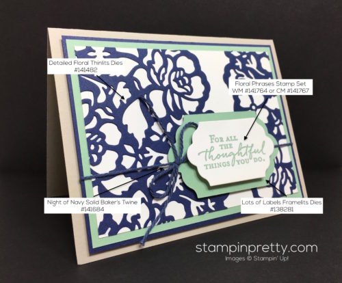 Stampin Up Floral Phrases Thinlits Dies Thank You Card - Mary Fish StampinUp supply list