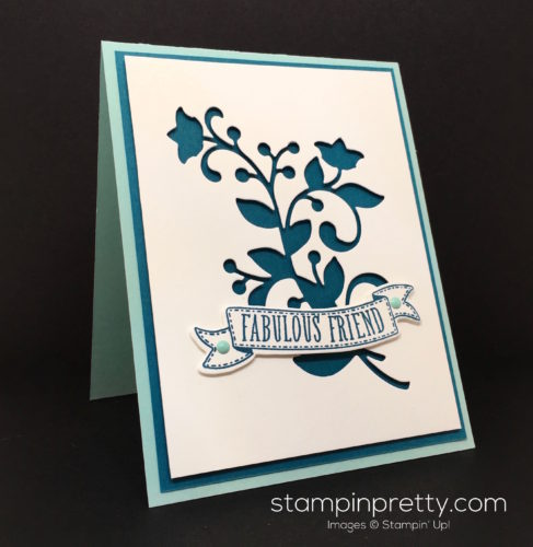 Stampin Up Flourish Thinlits Dies & Bunch of Banners Framelits Die Friend Card Idea - Mary Fish Stampin Pretty