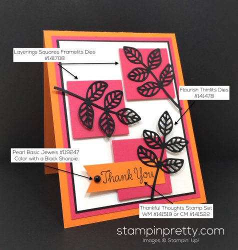 Stampin Up Flourish Thinlits Dies Thank You Card Idea - Mary Fish Stampin Pretty Supply List