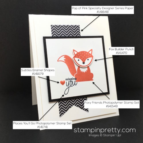 Stampin Up Foxy Friends & Fox Builder Punch Card - Mary Fish Stampin Pretty Supply List
