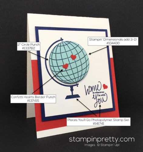 Stampin Up Places Youll Go World Globe Card Idea - Mary Fish supply list