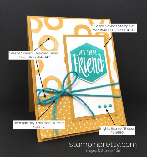 Stampin Up Serene Scenery & Scenic Sayings Friend Card Idea - Mary Fish Stampin Pretty Supply List